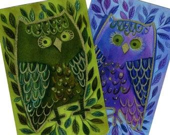 GOLD-TRIMMED OWLS (2) Vintage Single Swap Playing Cards Paper Ephemera Scrapbook