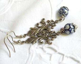 delft chandelier earrings delft blue dangle earings delft blue and white porcelain earrings delft porcelain delft blue style
