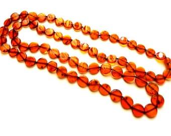 Baltic Amber Cognac Necklace Flat Beads Long Natural 41″