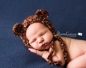 Bear Newborn hat | crocheted baby hat | Teddy Bear Bonnet Hat in Barks | crochet animal hat  - soft cuddly warm baby gift or photo prop