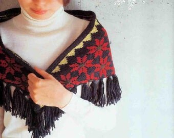 Crochet Stole Poncho Japanese eBook Pattern - Instant Download PDF