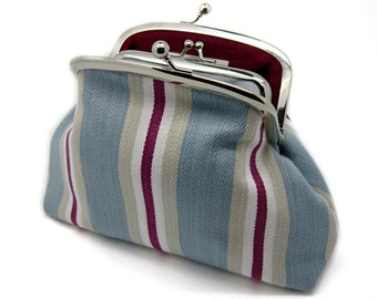 Blue Wine Striped Kiss Lock Clutch Coin Purse Wallet Gift for Women White Cotton Linen Metal Silver Frame