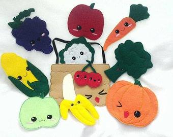 Eat your fruit and veggies kawaii felt food playset pretend play  bag set kit felt vegetables