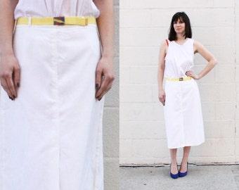 80s White Midi Skirt with Belt SIZE M L