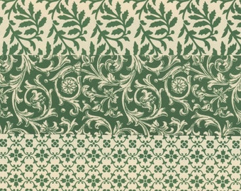 12x12 Art Papers Traditional Designs in Green for Bookbinding, Collage, Card Making and More
