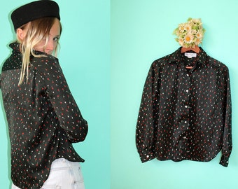 Vintage 70's The TULIPS Make Me Want to Paint Union Made Black Button Up Blouse Country Western Retro Women's Size 5/6 USA
