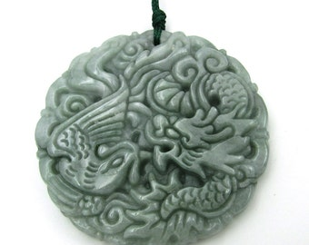 Fortune Dragon Phoenix Amulet Pendant Talisman Natural Jadeite Gem 46mm*46mm  Cy171