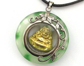 Stone Alloy Metal Tibetan Buddhist Happy Lucky Buddha Pendant Amulet 30mm*30mm  T2951