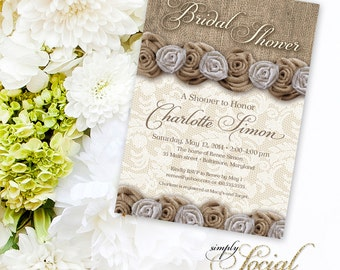 Rustic Chic Burlap and Lace Bridal Shower Invitation with Flowers