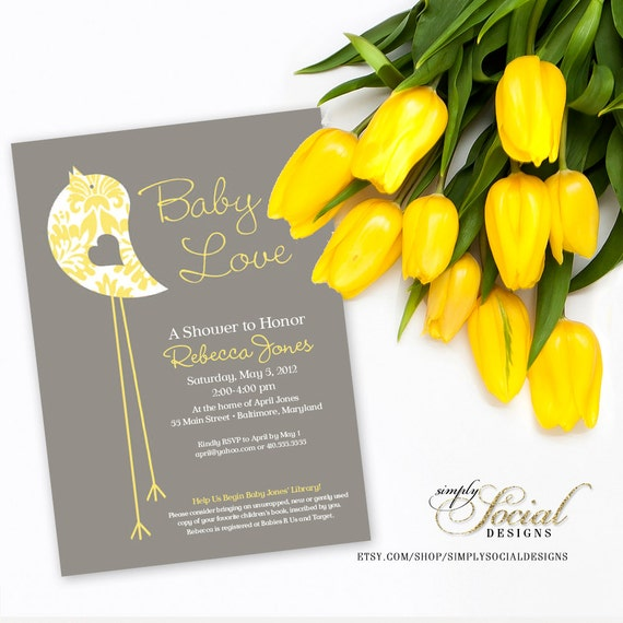 Little Bird Baby Shower Invitation Yellow and Grey with Pattern