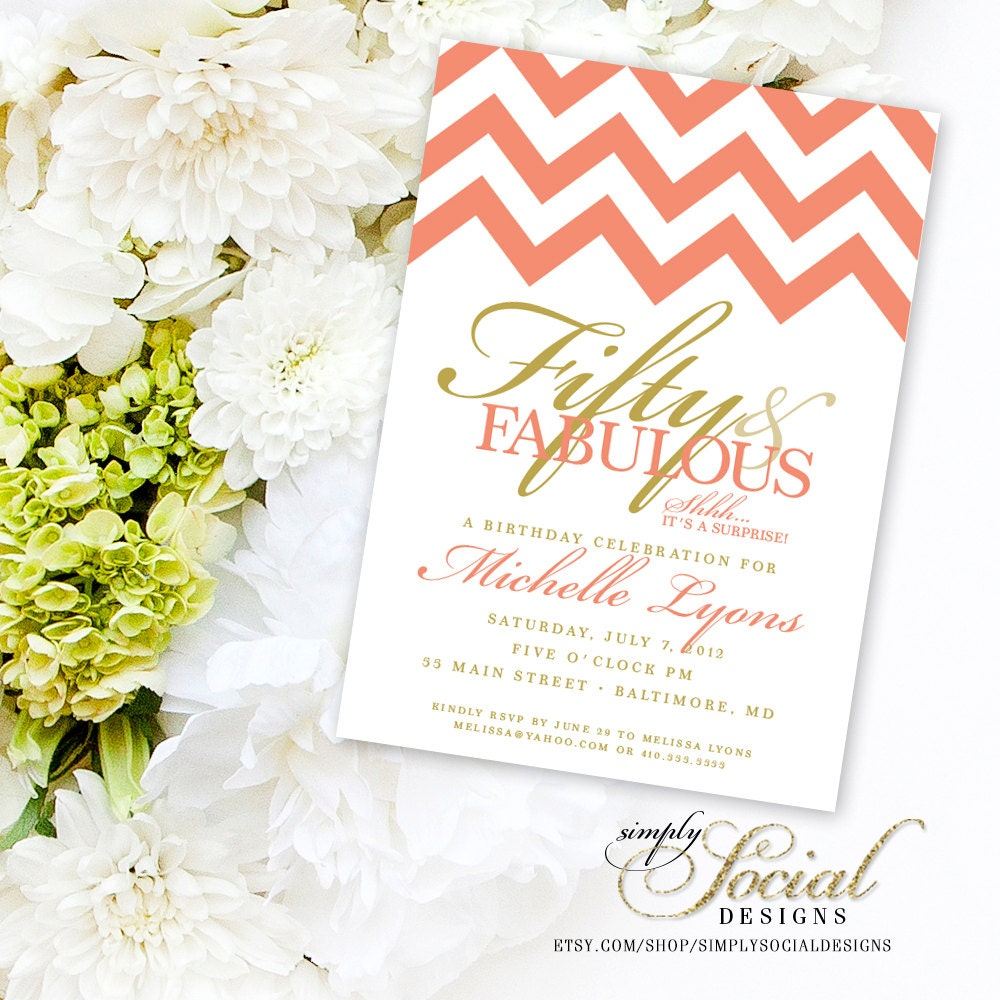 Surprise 50th Birthday Party Invitation with Chevron Coral and Gold ...