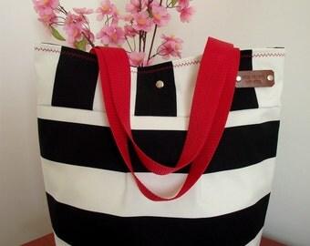BEACH BAG Tote Striped Bag Large Tote Bag black white handbag Stripes Nautical Diaper bag Water resistant Beach Tote Handbag