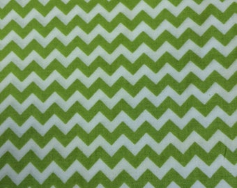 Chevron - Green and white - Mini Chevron - 1/2 yard - Cotton Quilting Fabric