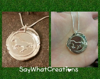SALE horse wax seal necklace from fine silver