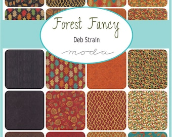 "Moda Forest Fancy Charm Pack, (42) 5"" Quilt Fabric Squares  Deb Strain  Fall Fabric Quilting Sewing"