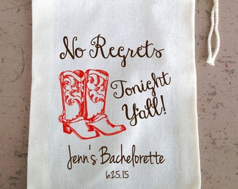 Mature,  Bachelorette Party,  Hangover Kit, Drawstring Favor Bags, Personalized FREE, Cowboy Boots Nashville
