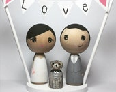 Custom Mini Kokeshi Doll Wedding Cake Toppers with Base and Bunting plus ONE pet