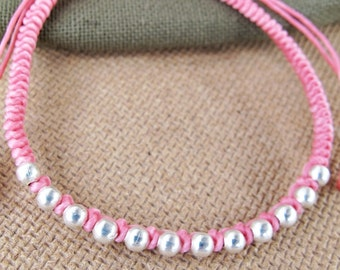Friendship Pink Wax Cord Snake Knot Bracelet with Silver Color Bead