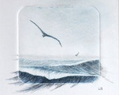 Ocean breeze original drypoint and mixed media art picture