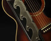 Black and Silver Guitar Strap, Leather Guitar Strap:  Armada Guitar Strap