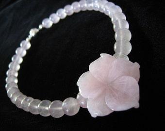 ROSE QUARTZ FLOWER Necklace Natural Carved Crystal