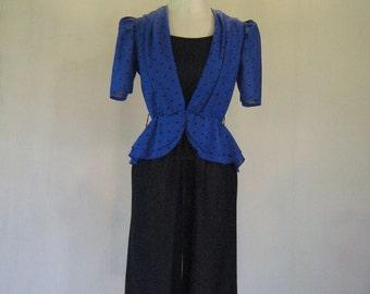 1980s Black & Blue Peplum Party Dress