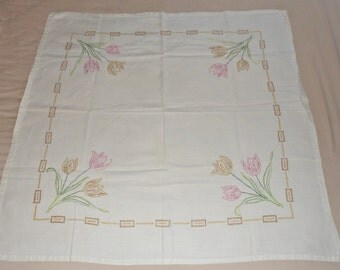 """Vintage Embroidered linen 36"""" square Tablecloth with Tulips"""