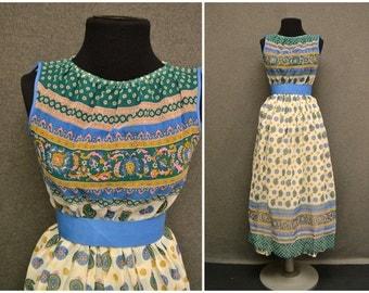 1970s Junior Girl's Boho Voile Dress
