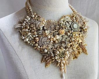 ELIZABETH I Gold Beaded Textile Mixed Media Statement Necklace