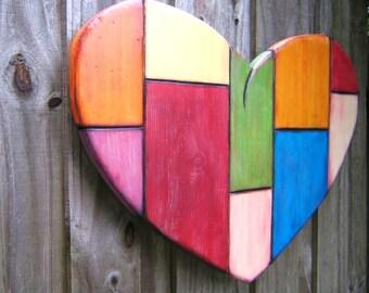 Art Heart, Original LARGE Wood Wall Sculpture, Wood Carving, Wall Decor, Heart Sculpture, Painted Sculpture, by Fig Jam Studio