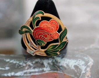 Red Flower Brooch, Enamel on Brass - ca. 1910s