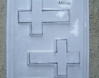 Craft Mold: Sheet of 2 Larger Crosses - Plaster, Clay, Papier Mache, etc.