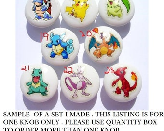 1 One  POKEMON Knob , Your choice on white dresser drawer knobs  boys girls  kids