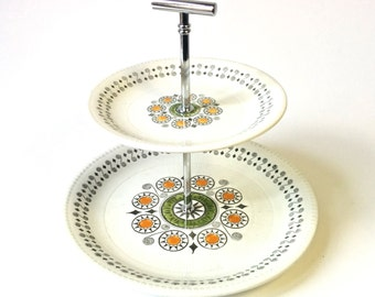Vintage 1970s Kathie Winkle Renissance Two Tier Cake Stand. Mid Century Modern, Eames Atomic Era Cupcake Stand