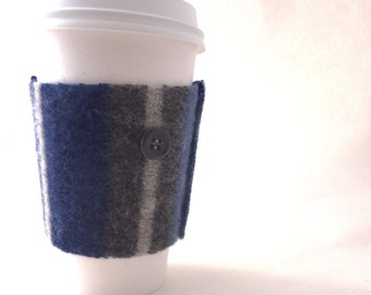Coffee Cozy BLUE & GRAY STRIPES Felted Sweater Wool Coffee Cosy / Coffee Sleeve / Coffee Sweater