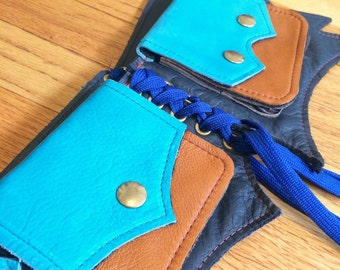 Ready to Ship BAT Pocket Belt turquoise navy blue tan brown Burning Man Utility Festival Steampunk Costume cosplay Mad Max leather SMALL