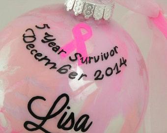 Personalized BREAST CANCER SURVIVOR Glass Keepsake Ornament