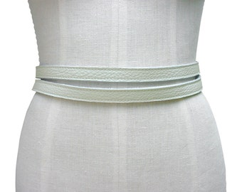Womens Leather Belt CHALK white Double Wrap Belt Fashion Accessories Minimalist Leather Strap Belt  Spring Fashion Belt Skinny Belt USA