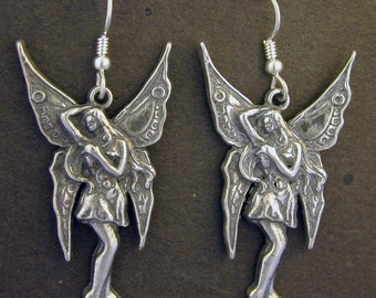 Sterling Silver Fairy Earrings on Sterling Silver French Wires