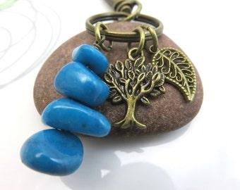 Tree of life Keychain - antiqued bronze keychain - blue stone bead stack - antiqued brass tree charm - brass leaf keychain