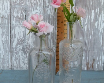 2 , vintage  bottles , clear , Ed.Pinaud PARIS , French Gloss , Whittmore Boston