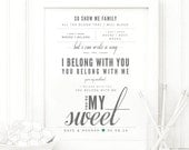 "Lumineers ""Hey Ho"" - Grey and Green, Valentine's & Wedding Gift, Paper Anniversary, First Dance Song Lyrics Wall Art Print"