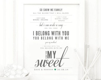 "Lumineers ""Hey Ho"" - Grey and Green, Valentine's & Wedding Gift, Paper Anniversary, First Dance Song Lyrics Wall Art Print"