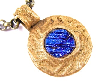 Dichroic PMC Pendant - Patterned Ancient Bronze with Blue Cobalt Sapphire Striped Dichro Fused Glass - Precious Metal Clay - appx. 1.5 inch