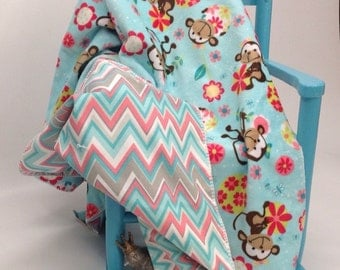 Chevron Monkey Ultra Soft Baby Blanket Teal Coral