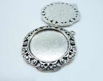 10pcs 25mm HG Antique Silver Round Cameo Cabochon Base Setting Pendants Blank Tray Board C7962