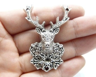 5pcs 38x51mm Antique Silver Huge Deer Head Charms Moose ELK c8018