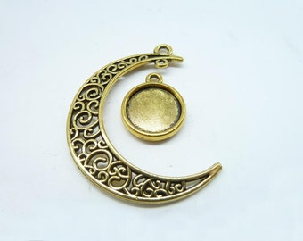 10 sets-Moon and Tray charms, Antique Gold Crescent Moon ,Galaxy, Cosmic Universe jewelry 12mm Base Setting 8021 7768