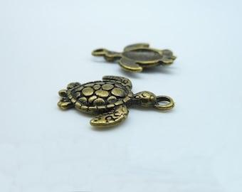 20pcs 16x22mm Antique Bronze Lovely  Sea Turtle Tortoise Charm Pendant C1543
