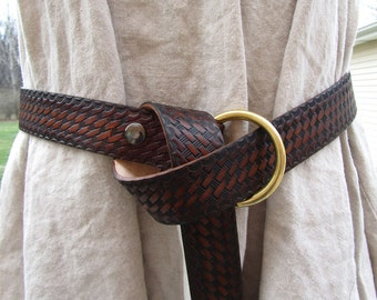 Customizable 1 1/2 inch, Basket Weave Design Leather Ring Belt, Medieval, Renaissance, SCA, Fantasy